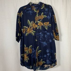 Nautica flower tropical button down shirt
